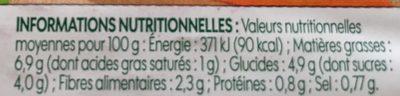 Carottes râpées bio - Informations nutritionnelles - fr