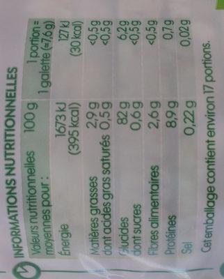 Galettes 4 céréales - Informations nutritionnelles