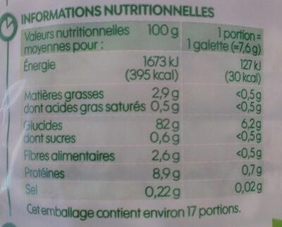 Galettes 4 céréales bio - Informations nutritionnelles