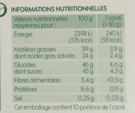 Chocolat lait 40 % cacao - Nutrition facts - fr