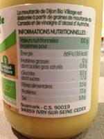 Moutarde de Dijon bio - Informations nutritionnelles - fr