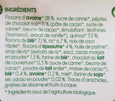 Muesli croustillant quinoa et chocolat bio - Ingrédients - fr
