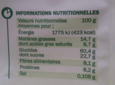 Muesli croustillant quinoa et chocolat bio - Informations nutritionnelles - fr