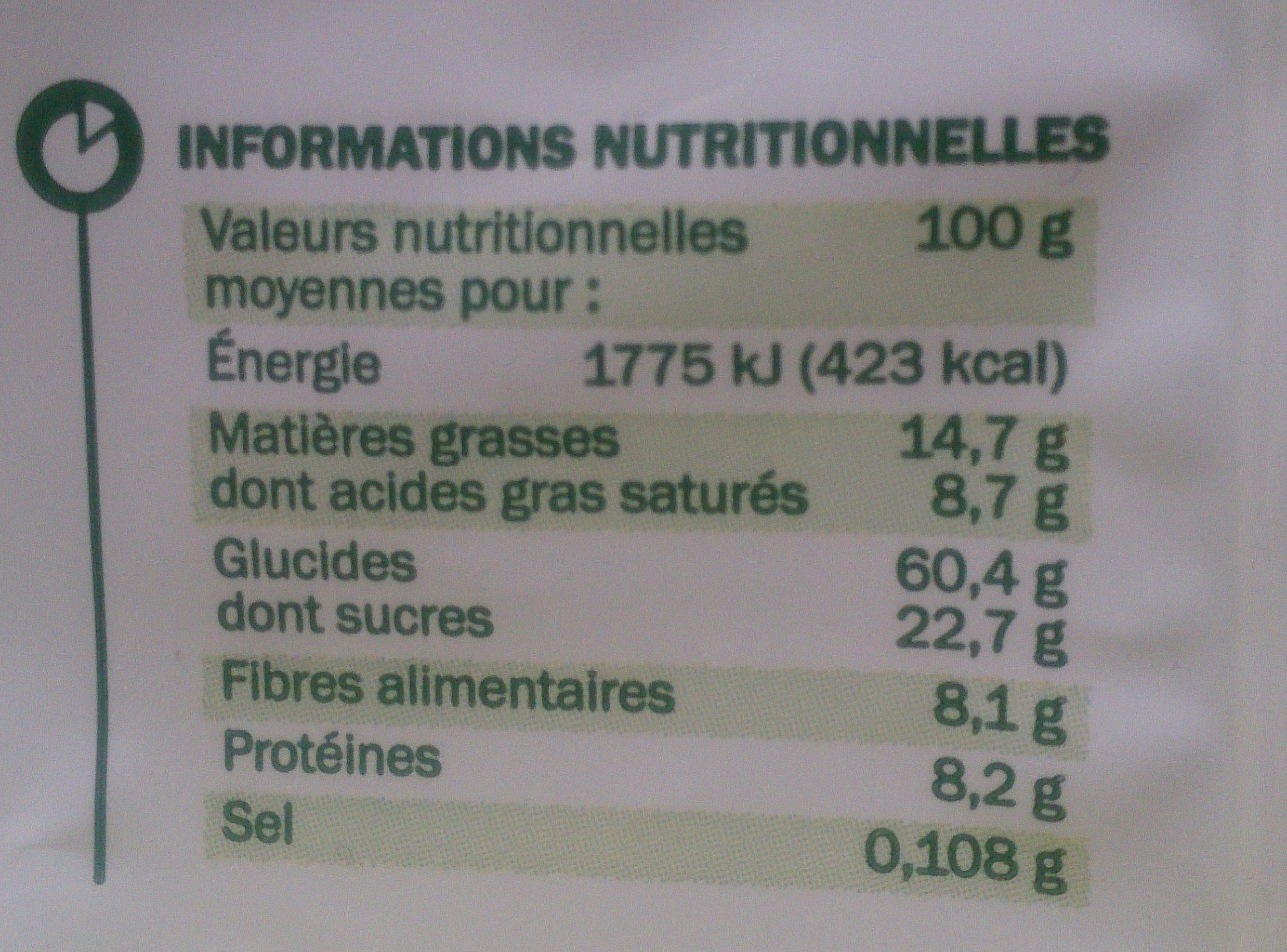 Muesli croustillant quinoa et chocolat bio - Nutrition facts