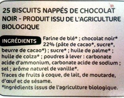 Biscuits Nappés Chocolat Noir - Ingredienti - fr