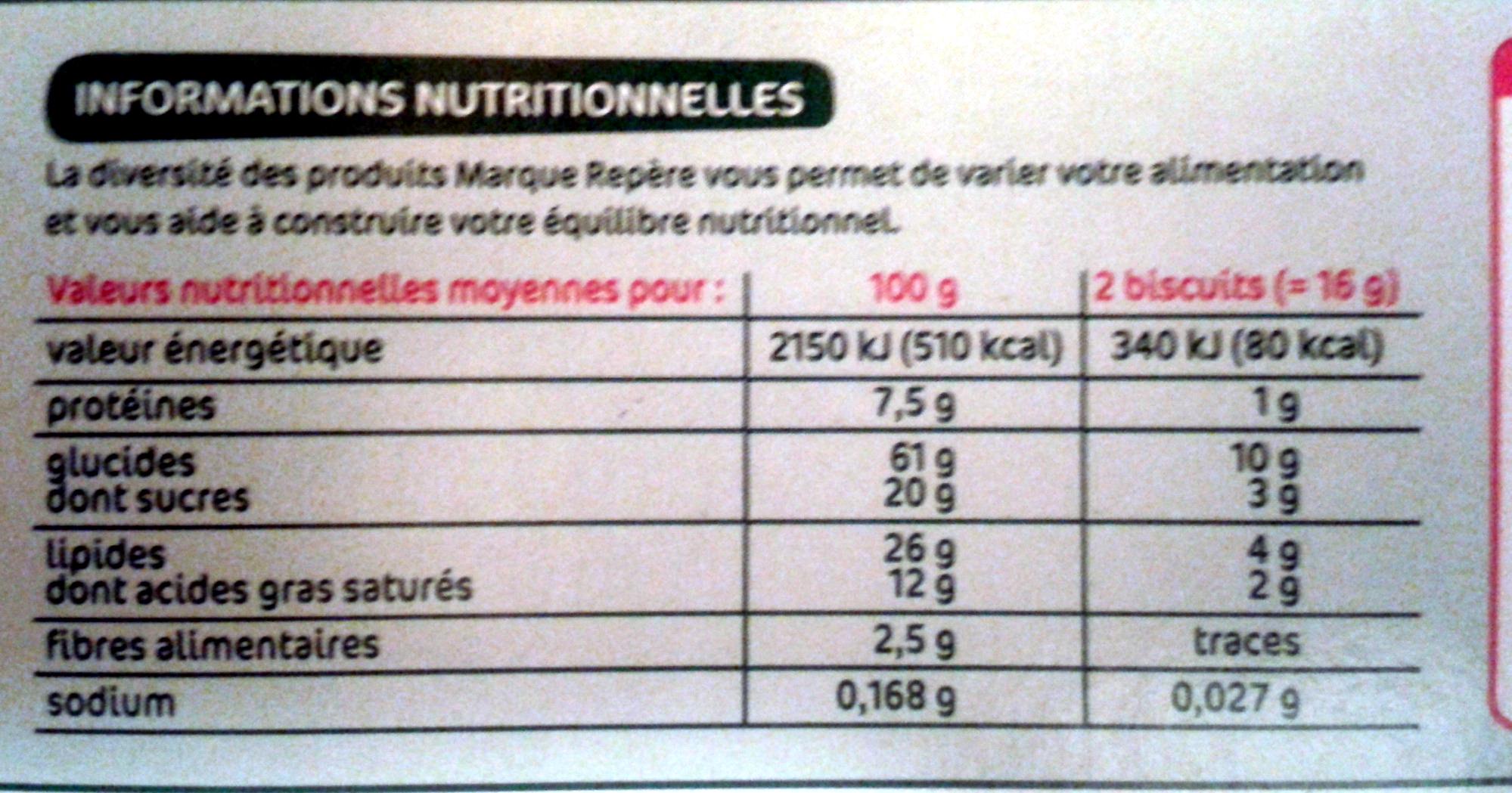 Biscuits Nappés Chocolat Noir - Informazioni nutrizionali - fr