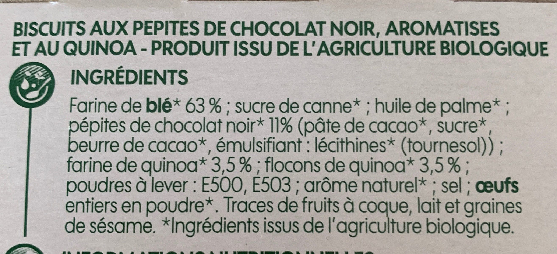 Biscuits pépites de chocolat quinoa - Ingrediënten