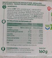 Biscuits pépites de chocolat quinoa - Informations nutritionnelles - fr