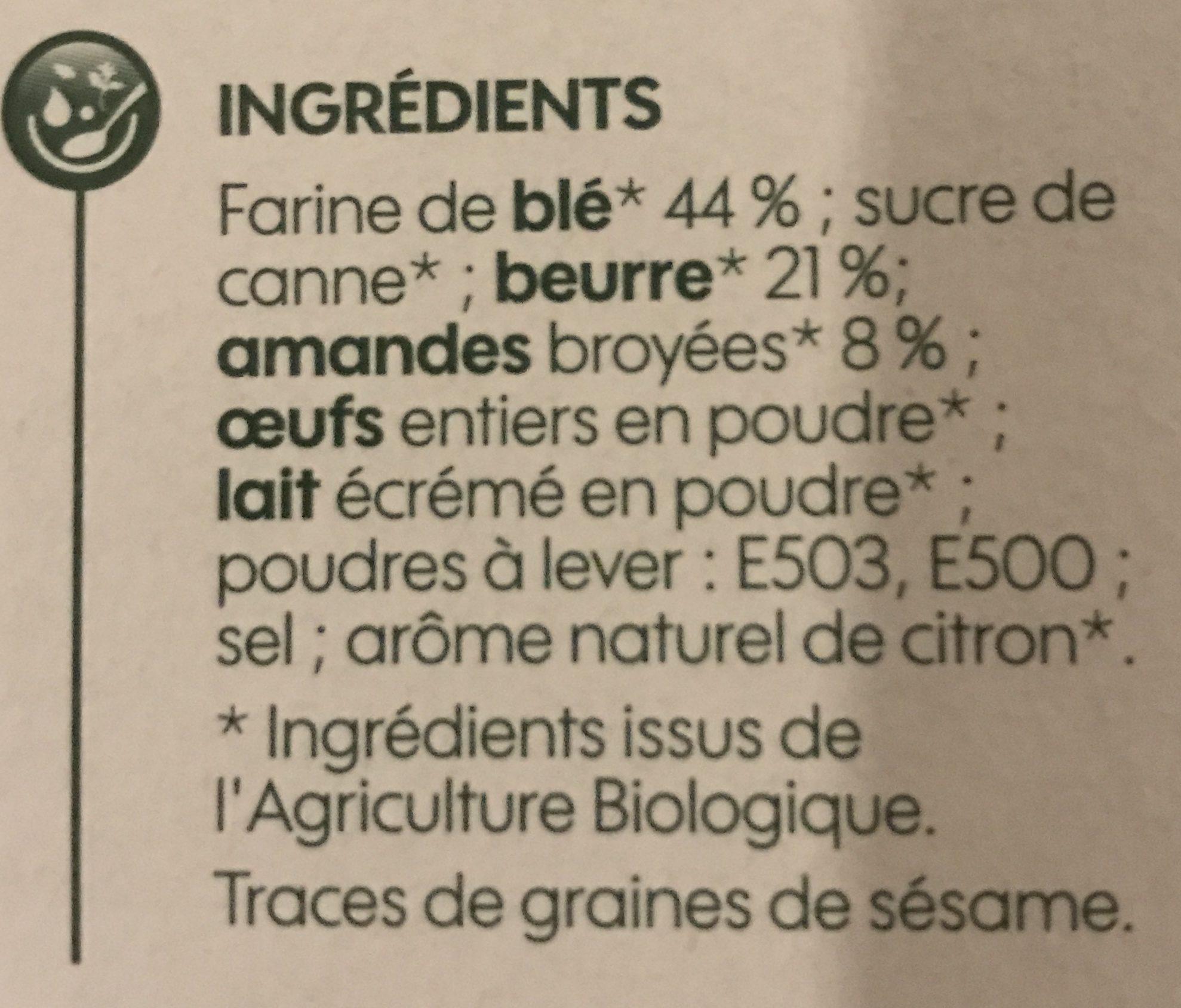 Sablés amandes saveur citron bio - Ingrediënten - fr