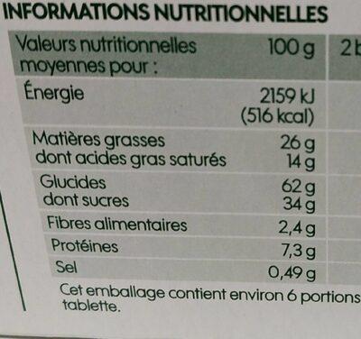 Biscuits tablette chocolat au lait - Informations nutritionnelles