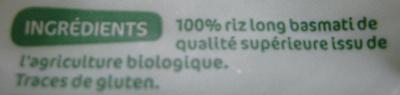 Riz basmati bio - Ingredientes - fr