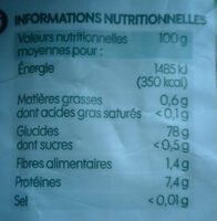 Riz basmati bio - Información nutricional - fr