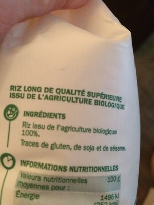 Riz long blanc Bio - Ingredienti