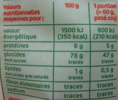 Riz long blanc Bio - Valori nutrizionali