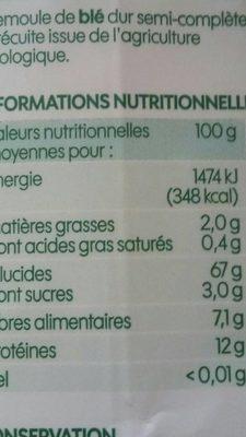 Couscous semi complet bio - Voedigswaarden