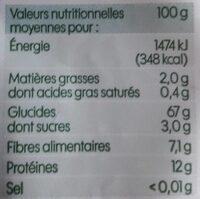 Couscous Grains moyens Semi-complet - Informations nutritionnelles - fr