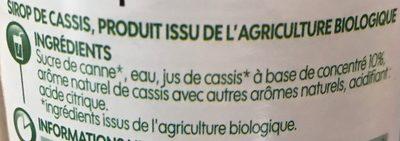 Sirop de cassis bio - Ingrédients