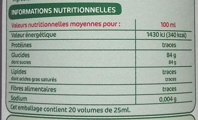 Sirop de cassis bio - Informations nutritionnelles
