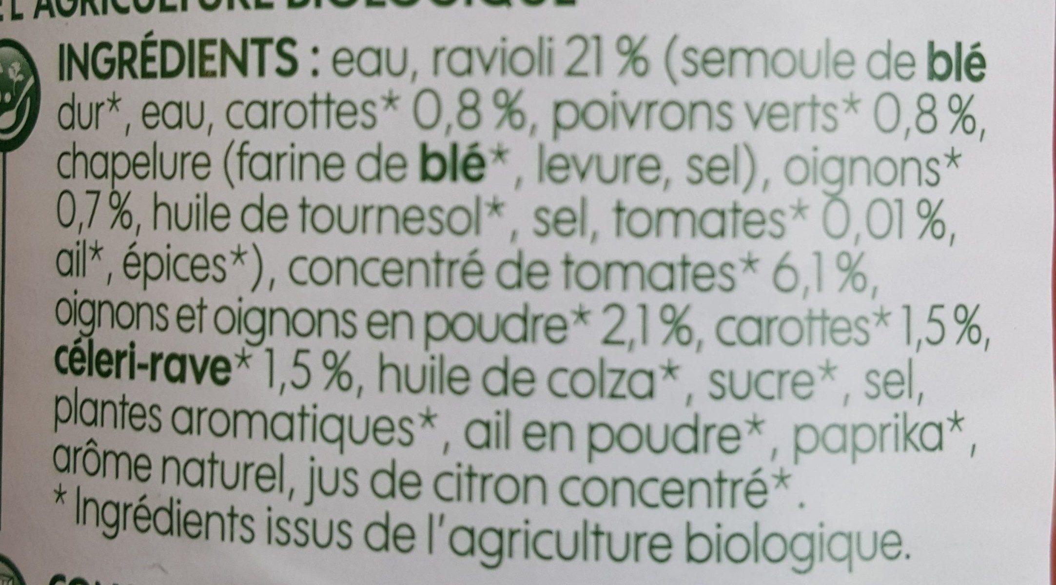 Ravioli aux légumes bio - Ingrédients - fr