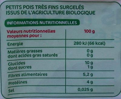 Petits pois tres fins bio - Informations nutritionnelles
