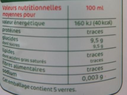 Limonade bio - Voedigswaarden