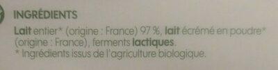 Yaourt nature 12x125g bio - Ingredients - fr