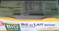 Riz au lait nature au lait entier - Product