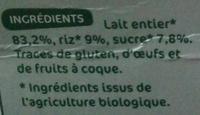Riz au lait nature au lait entier - Ingrediënten