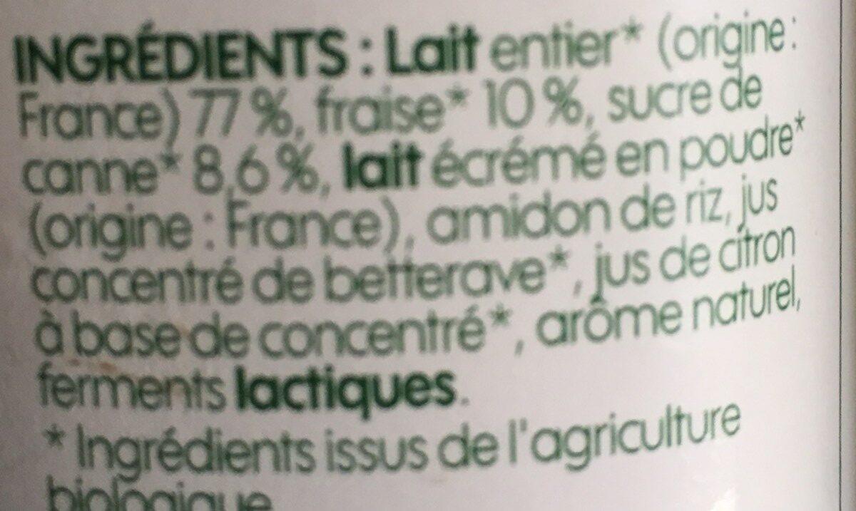 Yaourt au lait entier à la fraise - Ingrédients