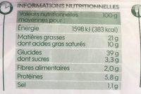 Pâte feuilleté à dérouler bio - Nutrition facts