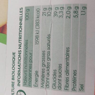 Pâte feuilleté à dérouler bio - Informations nutritionnelles - fr