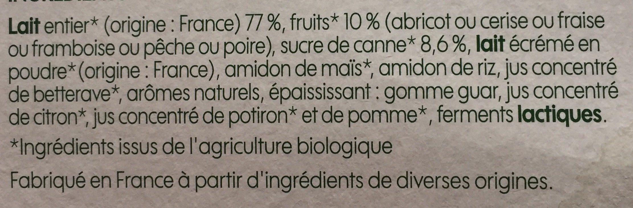 Yaourt aux fruits panachés x 12 - Ingrédients