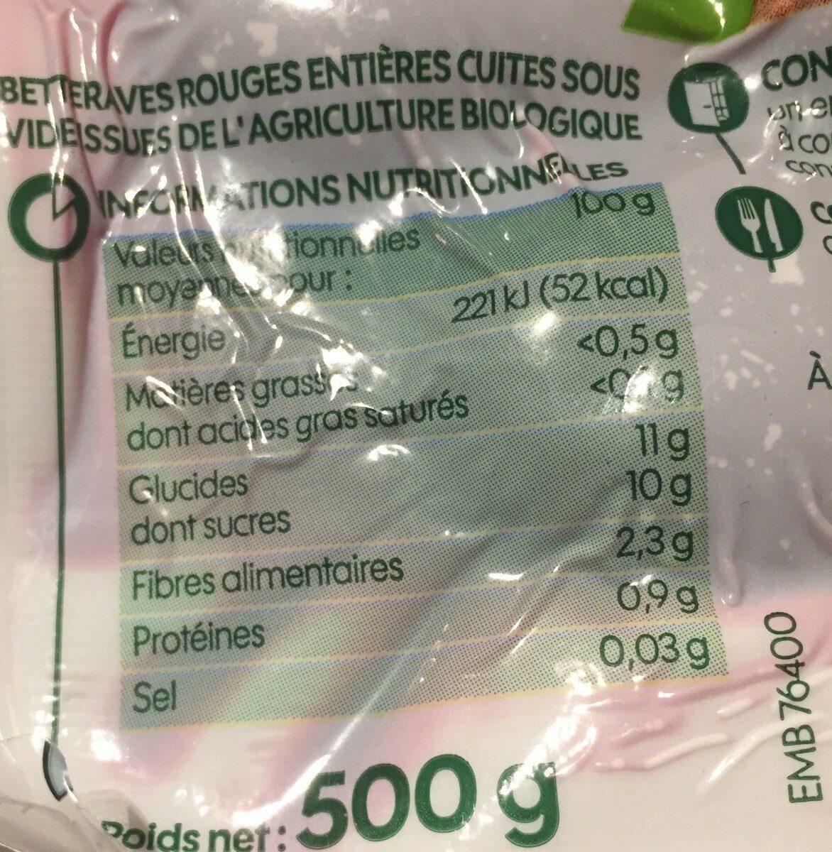 Betteraves entières - Voedingswaarden - fr