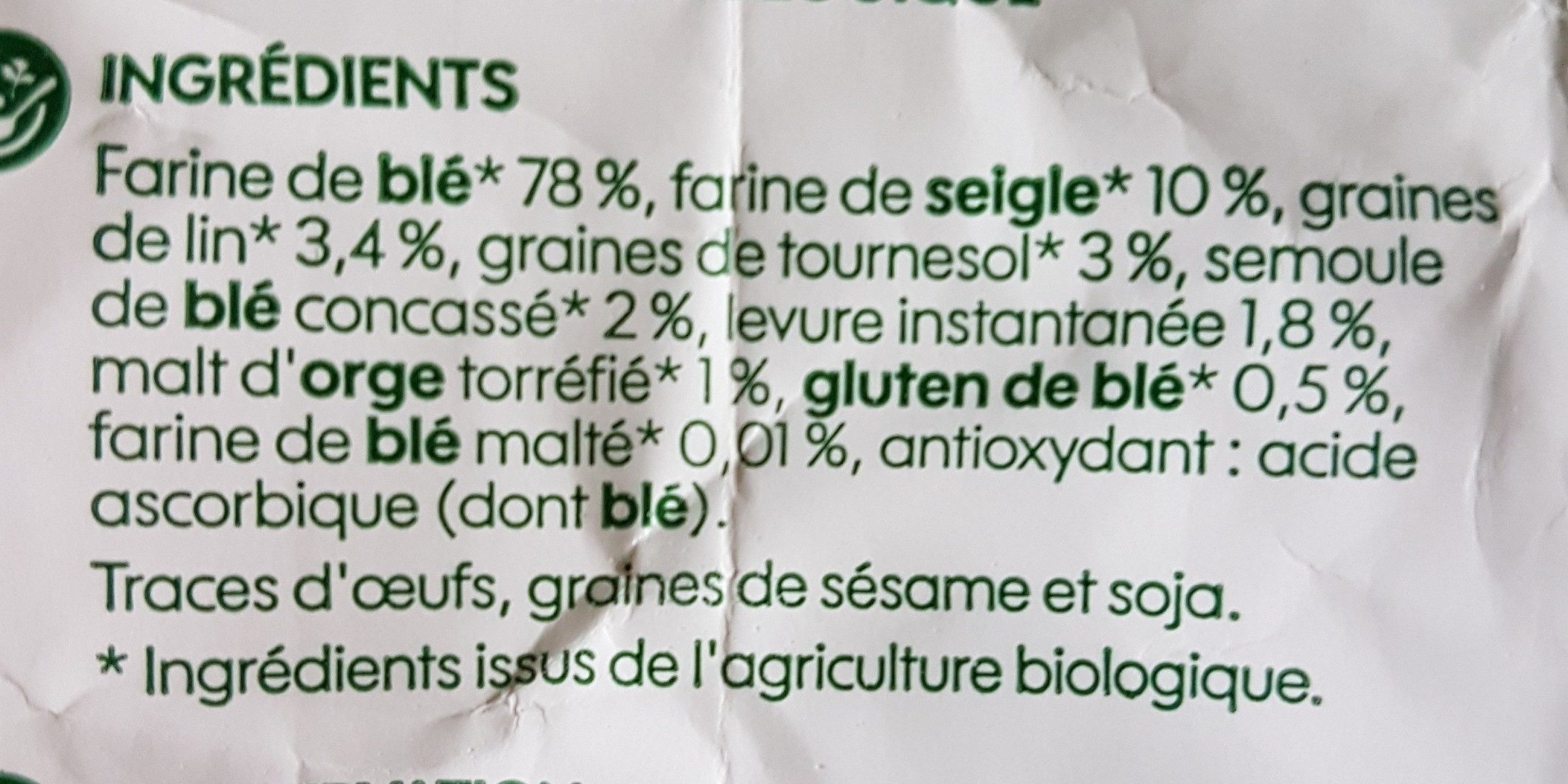 Préparation pour pain multi-céréales - Ingrediënten
