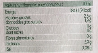 Fromage frais aux fruits x 12 - Nutrition facts - fr