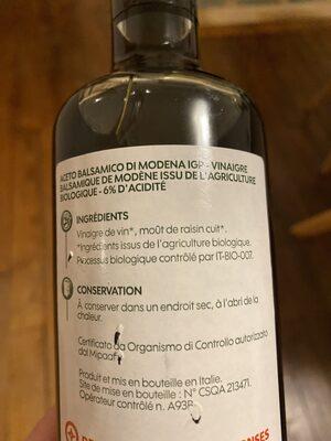 Vinaigre balsamique bio - Ingredienti - fr