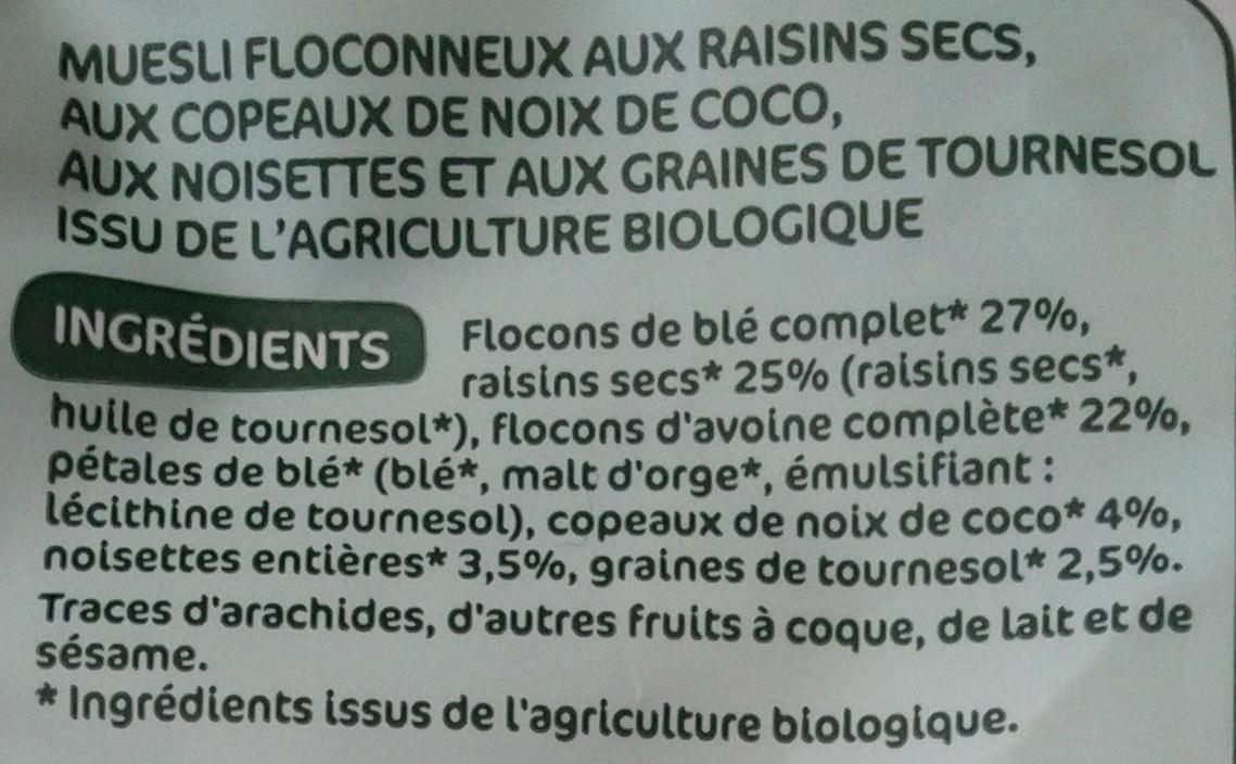 Muesli floconneux - Raisins secs, noix de coco & noisettes - Ingredients