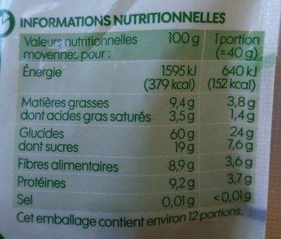Muesli flocon fruits secs - kg - Nutrition facts