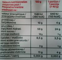 Muesli floconneux - Raisins secs, noix de coco & noisettes - Nutrition facts