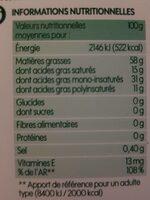 Matière grasse végétale bio 58 % Mat. Gr. - Informations nutritionnelles