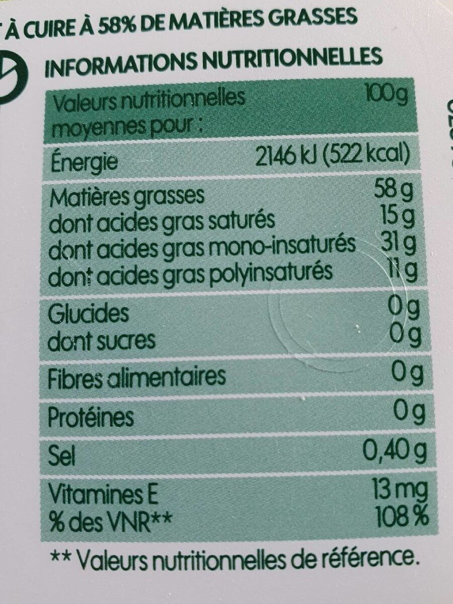 Matière grasse végétale bio 58 % Mat. Gr. - Valori nutrizionali - fr