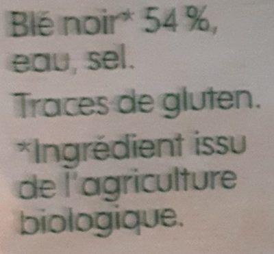 Galettes de blé noir x4 - Ingrédients