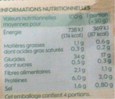 Galettes de blé noir x4 - Informations nutritionnelles - fr