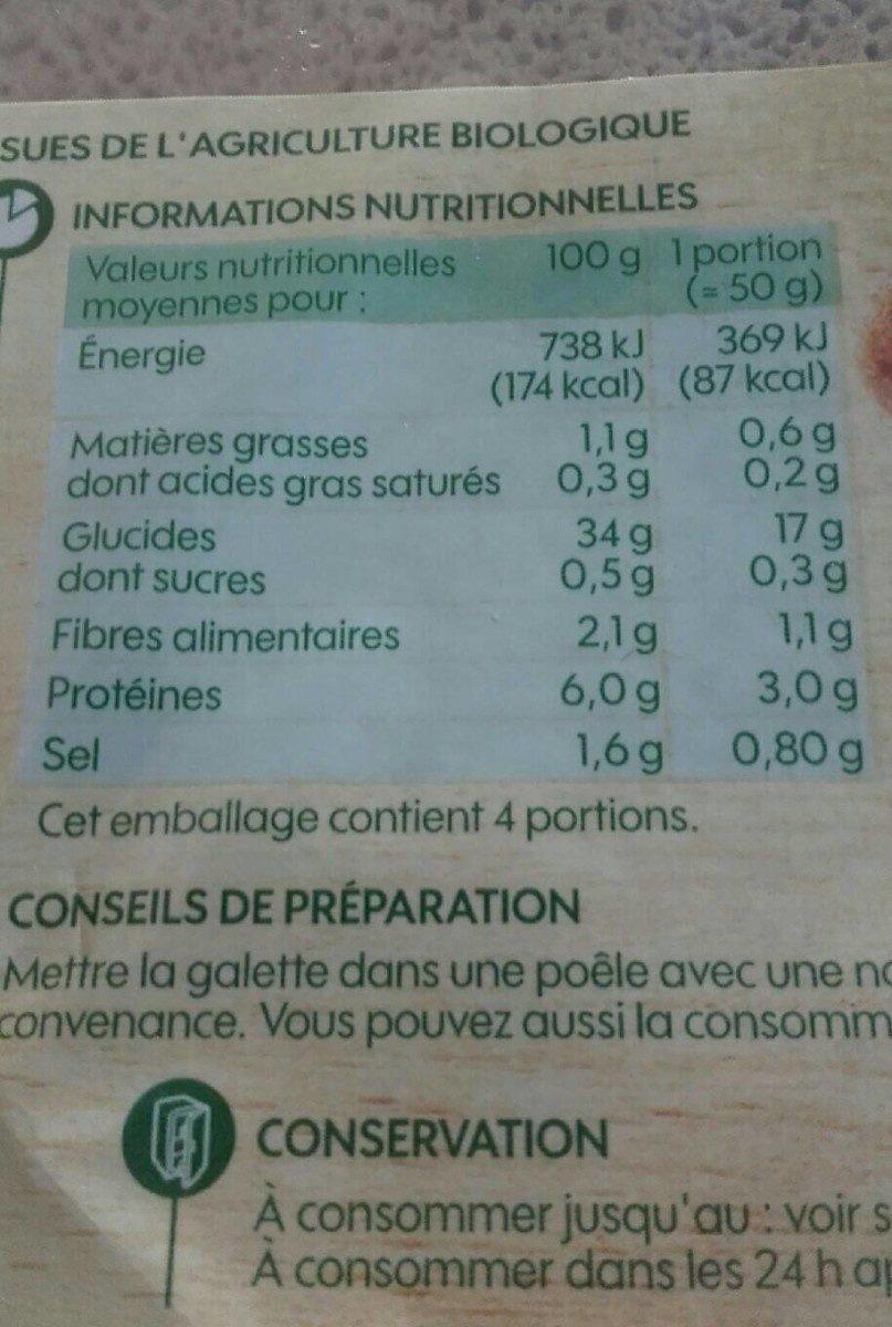 Galettes de blé noir x4 - Informations nutritionnelles