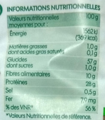 Lentilles vertes Bio - Nutrition facts