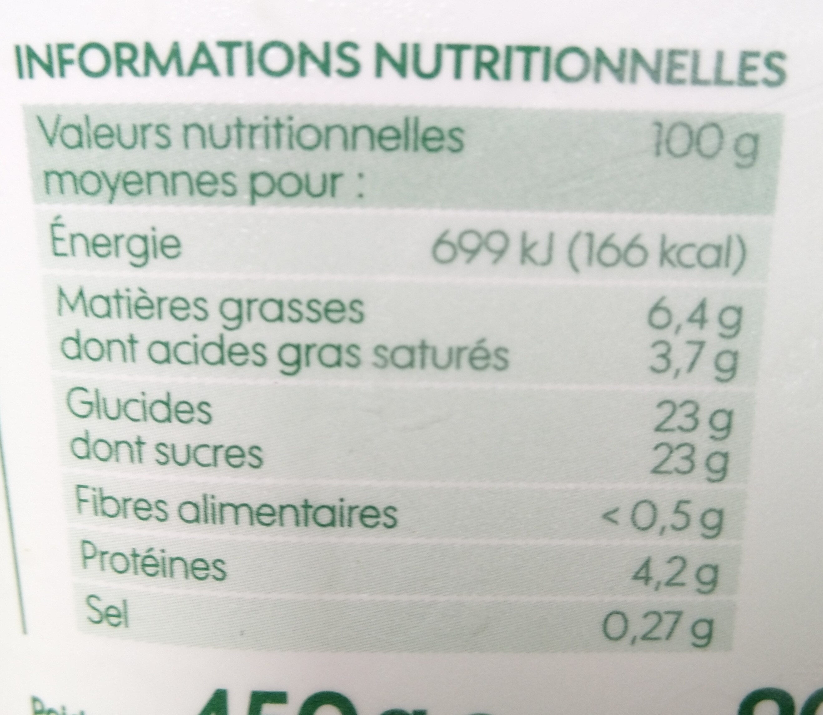 Vrac crème glacée vanille bourbon bio - Valori nutrizionali - fr