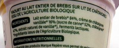 Yaourt au lait de brebis et châtaignes - Ingrediënten