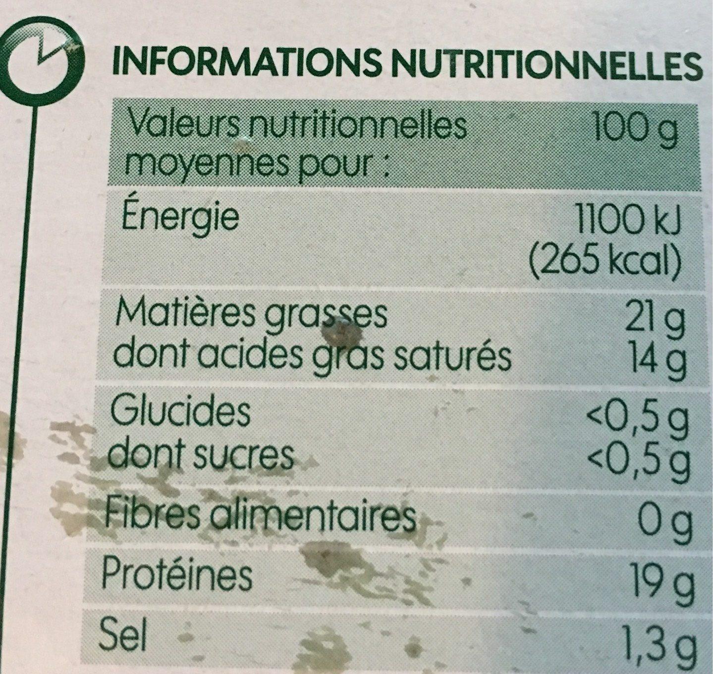 Camembert au lait pasteurisé 21% Mat. Gr. - Informations nutritionnelles