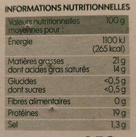 Camembert au lait pasteurisé 21% Mat. Gr. - Informations nutritionnelles - fr
