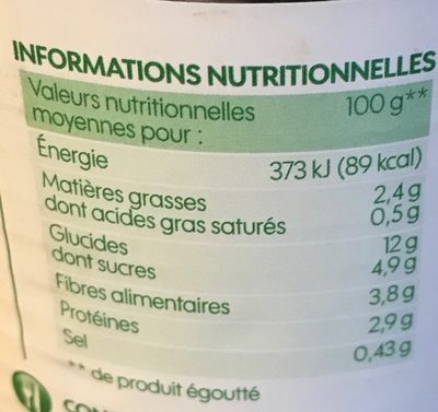 Maïs bio sans sucres ajoutés - Informations nutritionnelles - fr